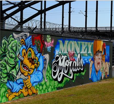 Graffity an Baustelle der EZB ....