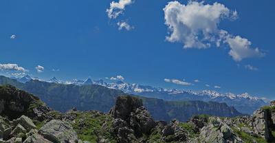 Panoramablick vom Sigriswilgrat in die Berner Alpen
