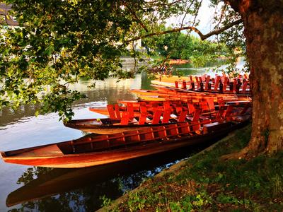 Stocherkähne am Neckarufer bei Esslingen