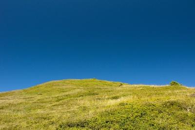 Bergwiese unter blauem Himmel