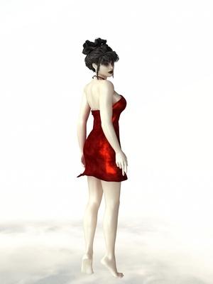 Frau in einem roten Samtkleid