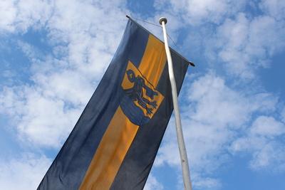 Wiesbaden Biebricher Fahne mit Wappen