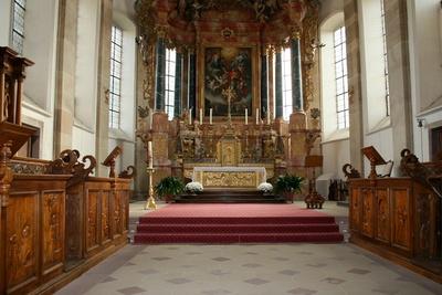 barocke abteikirche in ebersmunster..
