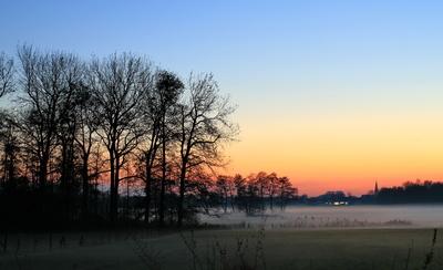 nebel in den wiesen  zur blauen stunde