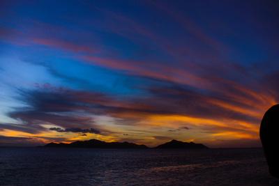 Sonnenuntergang Blau Orange am Meer - Seychellen