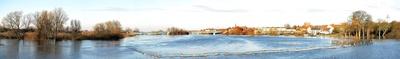 Hochwasser in Verden an der Aller - Panorama