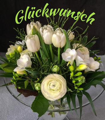 Blumen mit Text Glückwunsch