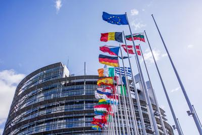 Europaflaggen vor Europ. Parlament in Straßburg