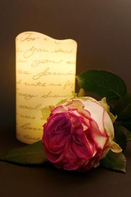 Rose mit Kerze