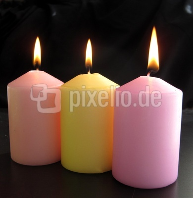 Kerzen rosa-gelb