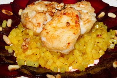 Speisen Seeteufel auf Bouillonkartoffeln 1
