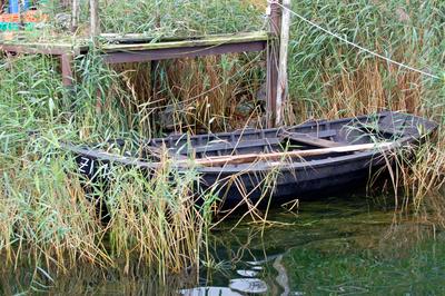 »Verstecktes« Ruderboot im Fischerhafen von Klein Zicker auf Rügen