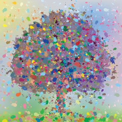 Farbkleckse-Herbstbaum