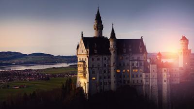 Neuschwanstein castle on sunset