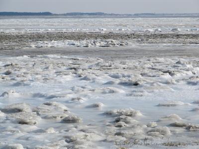 Eisschollen auf der Insel Amrum