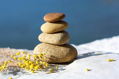 Steinchen und Mimosa-Blüten
