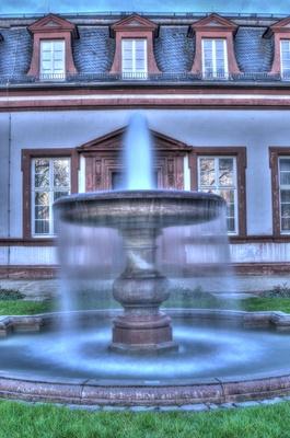 Springbrunnen am Abend