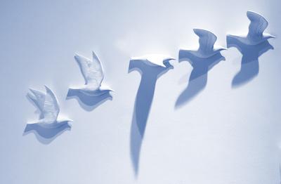 Abflug - Wanddeko in blau