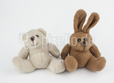 Stofftiere: Teddy & Hase