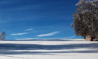 Spuren und Schatten im Schnee