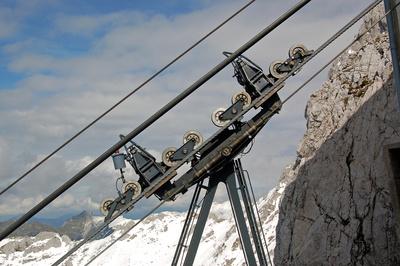 Karwendel-Seilbahn - Kabinen-Aufhängung - Bergstation