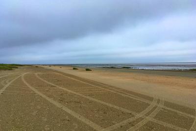 Fahrspuren auf dem Sandstrand