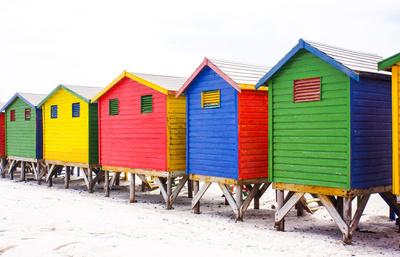 Badehäuser in Kapstadt-Muizenberg