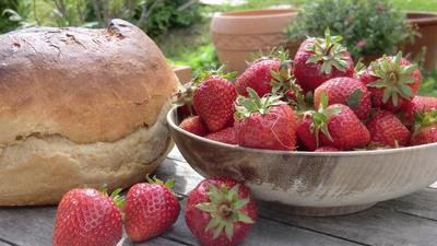 Erdbeeren und Brot