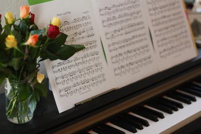 Rosen auf dem Klavier