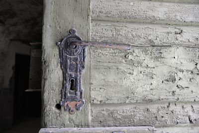 Türschloss, Detail Holztür