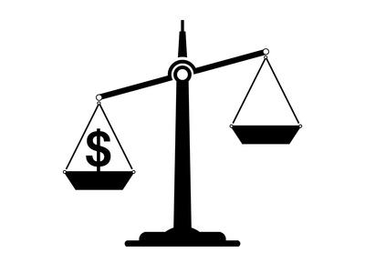 Waage-ungleich-Dollar-unten
