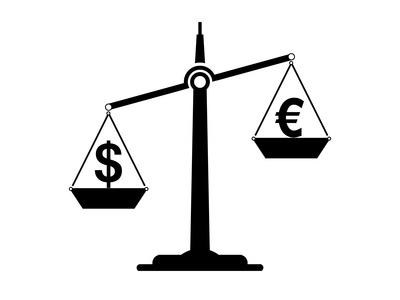 Waage-ungleich-Dollar-unten-Euro-oben