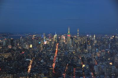 New York Uptown Skyline bei Dämmerung