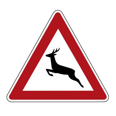 Ein Verkehrsschild, erstellt in Photoshop: Achtung: Wildwechsel!