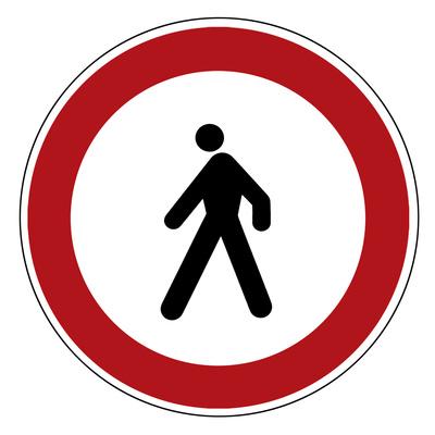 Verbotsschild: Fußgänger Verboten