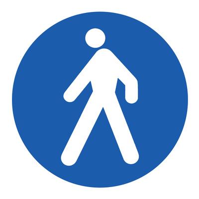 Hinweisschild, Fußgänger!