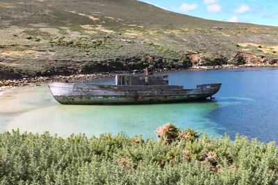 Gestrandetes Schiff auf den Falklandinseln