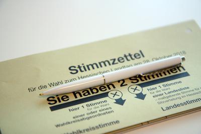 Stimmzettel zur Landtagswahl in Hessen