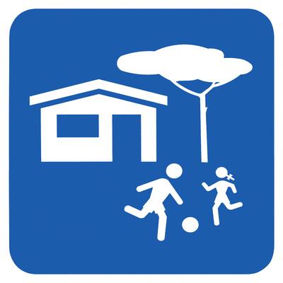 Hinweisschild spielende Kinder, Wohnzone