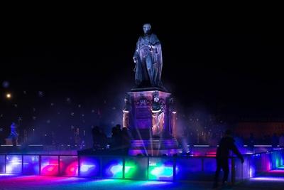 Eiszeit  im Karlsruher Schloßplatz