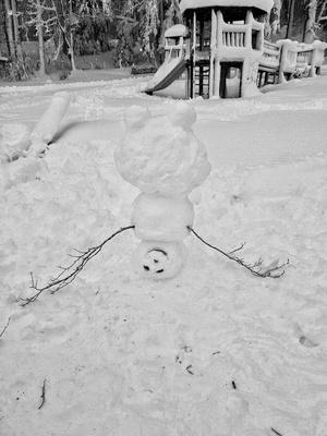 Schneemann steht Kopf