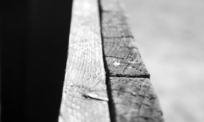 Zaun schwarz weiß Ansicht mittig