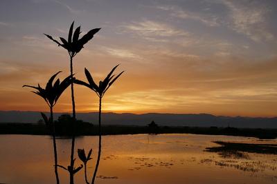Sonnenuntergang am Inle-See in Myanmar