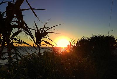 Sonnenuntergang an unserem Strand in La Floresta, Uruguy