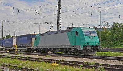 Ein Güterzug des kombinierten Verkehrs . . . .