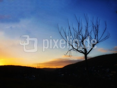 Sonnenuntergang auf dem Berg