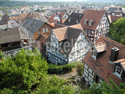 Blick auf Marburger Altstadthäuser