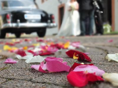 Rosenblätter Oldtimer Hochzeitspaar