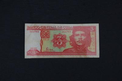 Kubanische Banknote 3 Pesos