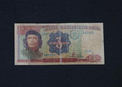 Kubanische Banknote 3 Pesos alt